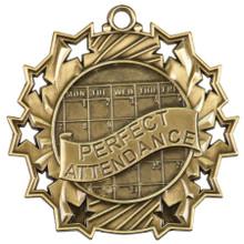 """2 1/4"""" Gold Perfect Attendance Ten Star Medal"""