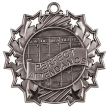 "2 1/4"" Silver Perfect Attendance Ten Star Medal"