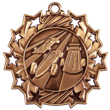 "2 1/4"" Bronze Pinewood Derby Ten Star Medal"