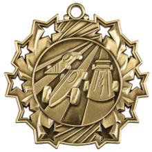 "2 1/4"" Gold Pinewood Derby Ten Star Medal"