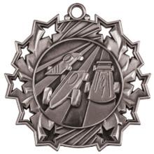"2 1/4"" Silver Pinewood Derby Ten Star Medal"
