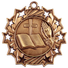 "2 1/4"" Bronze Religious Ten Star Medal"
