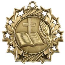 """2 1/4"""" Gold Religious Ten Star Medal"""
