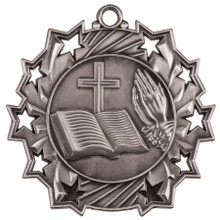 """2 1/4"""" Silver Religious Ten Star Medal"""