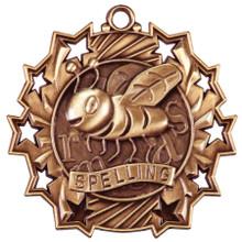"""2 1/4"""" Bronze Spelling Ten Star Medal"""