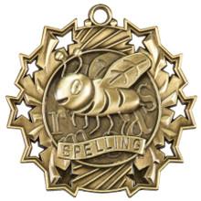 """2 1/4"""" Gold Spelling Ten Star Medal"""