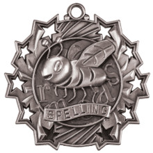 "2 1/4"" Silver Spelling Ten Star Medal"