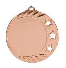 "2 3/4"" Antique Bronze 3-Star 2"" Insert Holder Medal"