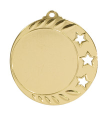 "2 3/4"" Bright Gold 3-Star 2"" Insert Holder Medal"