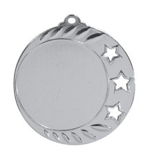 "2 3/4"" Bright Silver 3-Star 2"" Insert Holder Medal"