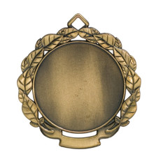 """2 3/4"""" Antique Gold Leaf 2"""" Insert Holder Medal"""