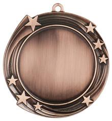 """2 3/4"""" Antique Bronze Swirling Star 2"""" Insert Holder Medal"""