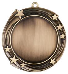 """2 3/4"""" Antique Gold Swirling Star 2"""" Insert Holder Medal"""