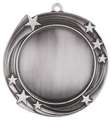 """2 3/4"""" Antique Silver Swirling Star 2"""" Insert Holder Medal"""