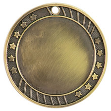"2 3/4"" Antique Gold 12-Star 2"" Insert Holder Medal"
