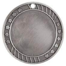 "2 3/4"" Antique Silver 12-Star 2"" Insert Holder Medal"