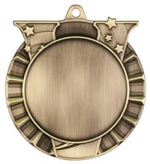 """2 3/4"""" Antique Gold Victory 2"""" Insert Holder Medal"""