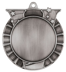 "2 3/4"" Antique Silver Victory 2"" Insert Holder Medal"