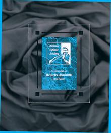 "7"" x 9"" Blue Marble Acrylic Clear Plaq"