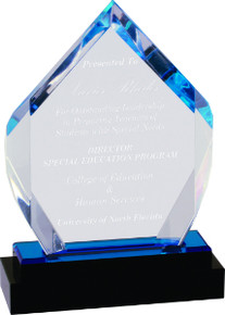 "7"" Blue Fusion Diamond Impress Acrylic with Black Crystal Base"