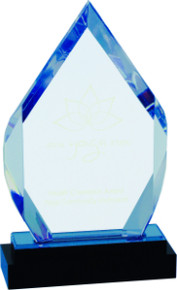 "8"" Blue Fusion Diamond Impress Acrylic with Black Crystal Base"