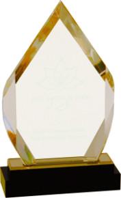 "8"" Gold Fusion Diamond Impress Acrylic with Black Crystal Base"