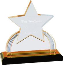 "7 1/4"" Gold Carved Star Impress Acrylic"