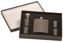 3 oz. Matte Black Flask Set in Black Presentation Box