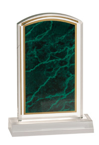 "4"" x 6"" Green Marbleized Acrylic with 5"" Base"