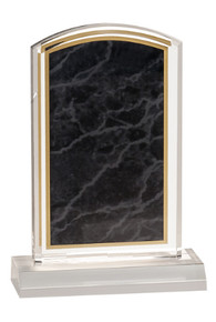 "4"" x 6"" Black Marbleized Acrylic with 5"" Base"
