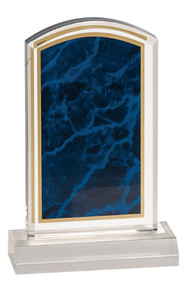 "4"" x 7"" Blue Marbleized Acrylic with 5"" Base"