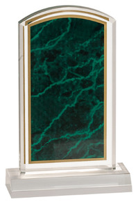 "4"" x 7"" Green Marbleized Acrylic with 5"" Base"