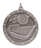 "1 3/4"" Silver Hockey Shooting Star Medal"