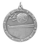 "1 3/4"" Silver Volleyball Shooting Star Medal"