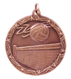 "1 3/4"" Bronze Volleyball Shooting Star Medal"