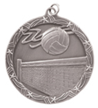 "2 1/2"" Silver Volleyball Shooting Star Medal"