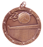 "2 1/2"" Bronze Volleyball Shooting Star Medal"