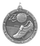 "1 3/4"" Silver Soccer Shooting Star Medal"