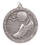 "2 1/2"" Silver Soccer Shooting Star Medal"