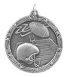 "1 3/4"" Silver Football Shooting Star Medal"