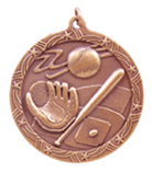 "2 1/2"" Bronze Baseball Shooting Star Medal"