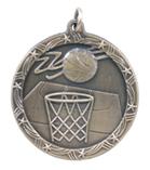 "1 3/4"" Gold Basketball Shooting Star Medal"