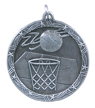 "1 3/4"" Silver Basketball Shooting Star Medal"