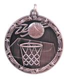 "1 3/4"" Bronze Basketball Shooting Star Medal"