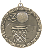 "2 1/2"" Gold Basketball Shooting Star Medal"
