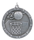 "2 1/2"" Silver Basketball Shooting Star Medal"