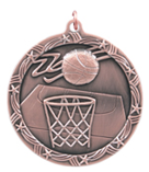 "2 1/2"" Bronze Basketball Shooting Star Medal"