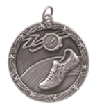 "1 3/4"" Silver Track Shooting Star Medal"