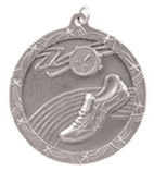 "2 1/2"" Silver Track Shooting Star Medal"