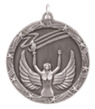 """1 3/4"""" Silver Victory Shooting Star Medal"""